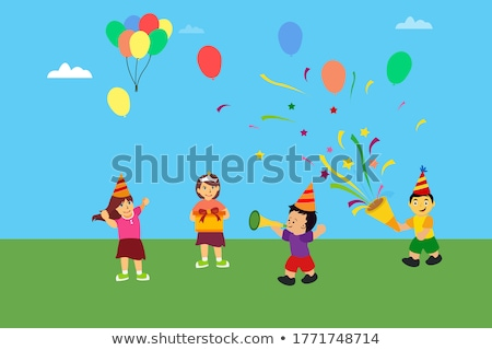 Birthday Boy Standing Under Confetti at Party Stock photo © robuart
