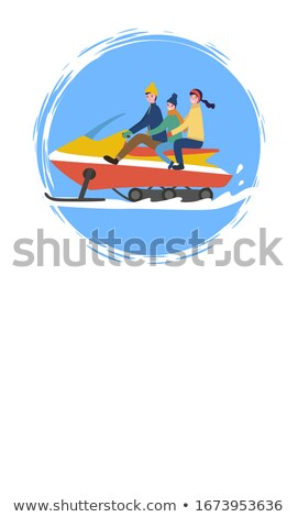 family snowmobiling people having fun outdoors stock photo © robuart