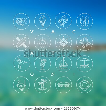 Vector Summer Holiday Illustration with Ship Steering Wheel and Exotic Palm Trees on Tropical Island Stock photo © articular