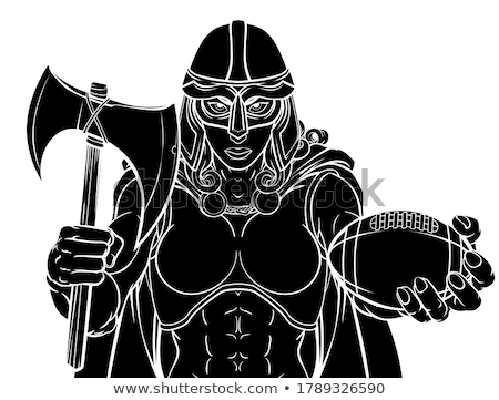 Foto stock: Viking Trojan Celtic Knight Football Warrior Woman