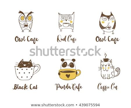 cute owls cat and panda drinking coffee hand drawn symbols icons illustrations stock photo © marish