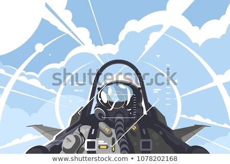 Stock fotó: Rajz · modern · katonaság · vadászrepülő · repülőgép · vektor