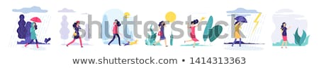Windy weather, young woman and umbrella isolated vector illustration Stock photo © tiKkraf69