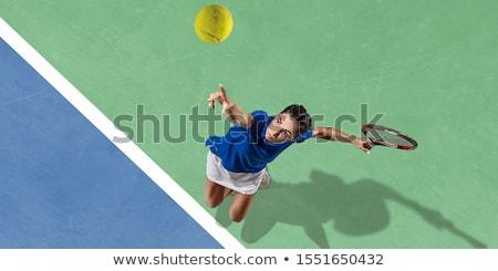 Nő teniszlabda bíróság tenisz vonat jókedv Stock fotó © Kzenon