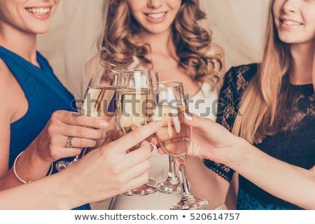 Vrijgezel partij meisje champagne succes witte Stockfoto © Lopolo