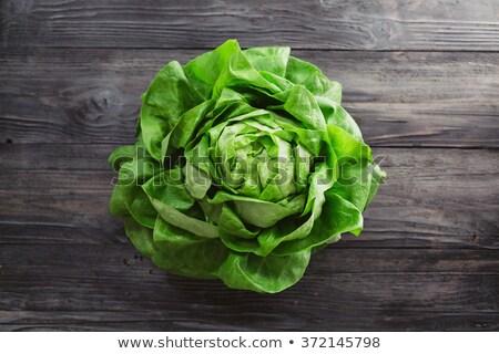 frescos · lechuga · hojas · superior · vista - foto stock © masay256
