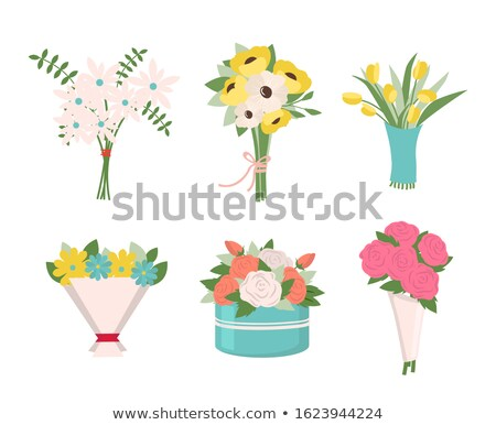 Stock photo: Tulips And Roses Fern Leaves In Bouquet Icons
