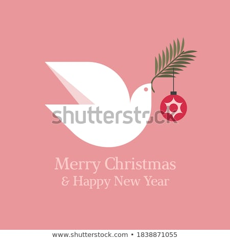 minimal christmas card with wishes of peace and white dove stock photo © ussr