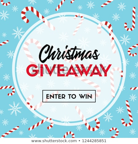 Christmas giveaway, vector template with candy cane patterns for online holiday contest. Stock photo © ikopylov