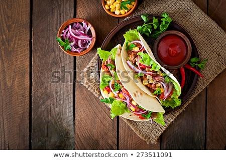 mexicano · tacos · cozinhar · carne · legumes · temperos - foto stock © karandaev