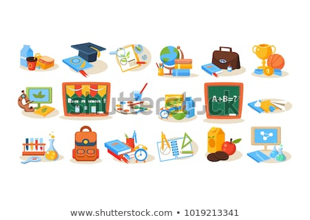 Stock foto: Backpack With Notebook And Pen School Vector