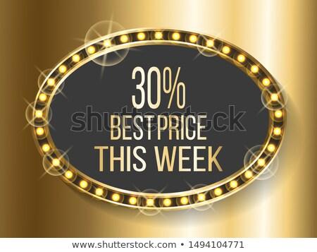 Beste prijs week korting goud frame banner Stockfoto © robuart