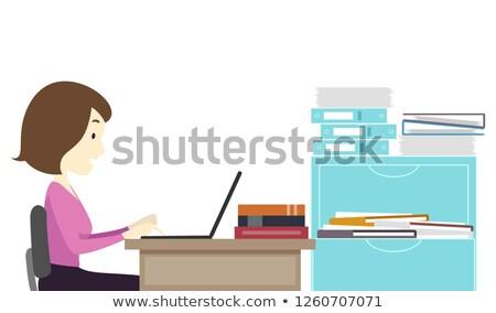 Girl Teacher Browse Laptop Faculty Room Stock photo © lenm