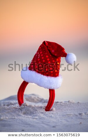 Sparkly red santa hat in the beach sand in Australia. Christmas Stock photo © lovleah
