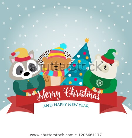 Christmas card with cute dressed animals and wishes Stock photo © balasoiu