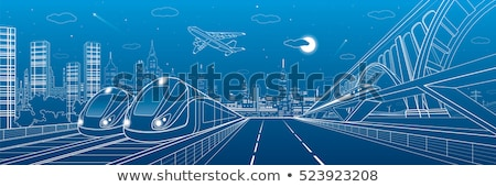 Car and Train Moving in City, Transport Vector Stock photo © robuart