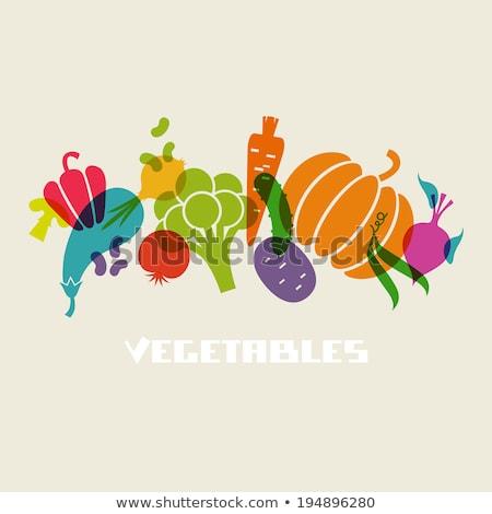 Zdrowa żywność warzyw czosnku wektora podpisania ikona Zdjęcia stock © pikepicture