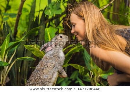 Woman holding a rabbit. Cosmetics test on rabbit animal. Cruelty free and stop animal abuse concept Stock photo © galitskaya