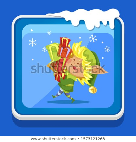 Christmas Icon Elf Carrying Heavy Gifts Vector Stock photo © robuart