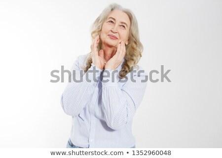 Kobieta dotknąć czoło smutne zmęczony młoda kobieta Zdjęcia stock © choreograph
