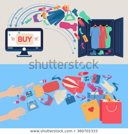 Cesta vestir roupa clique compras on-line dinheiro Foto stock © yupiramos