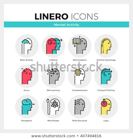 Mental activity color linear icons set Stock photo © barsrsind