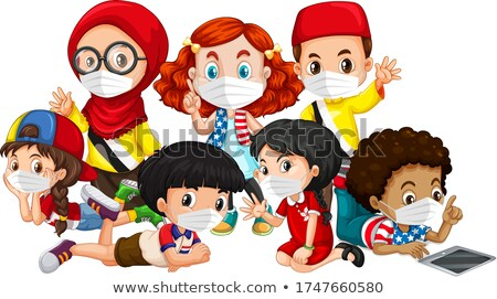 Multiple cultures kids wearing mask Stock photo © bluering