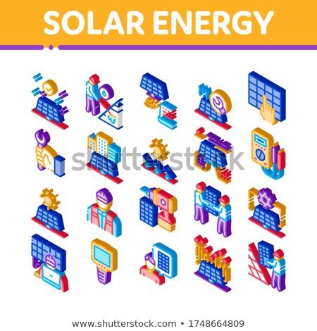 Solar Energy Technicians Isometric Icons Set Vector Stock photo © pikepicture
