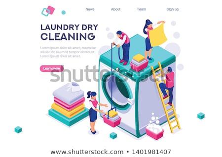 Lavanderia servizio asciugare macchina isometrica icona Foto d'archivio © pikepicture
