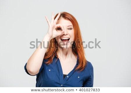 Foto stock: Jovem · mulher · olhando · cabelo · belo
