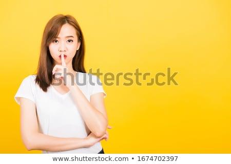 женщину · тихий · Секреты · красивая · женщина · пальца · губ - Сток-фото © darrinhenry