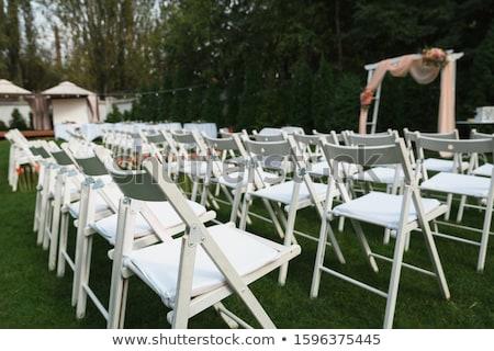 Csetepaté fehér székek rózsaszín szalagok négy Stock fotó © pixelsnap