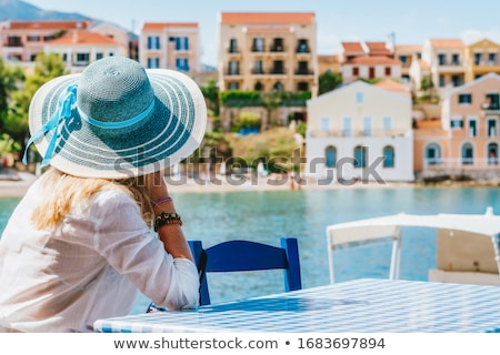 Beautiful elegant young woman at the beach standing, admiring an Stock photo © HASLOO