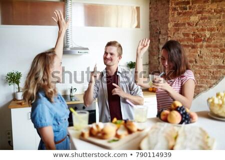 Trójka kuchnia okulary mleka butelki gotowania Zdjęcia stock © photography33