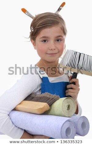 Little girl pretending to be decorator Stock photo © photography33