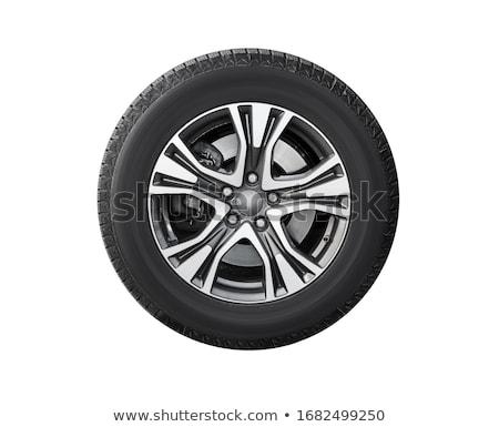 Foto stock: Carro · pneu · isolado · branco · preto · roda