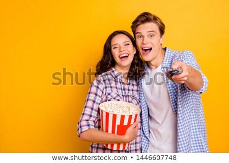 ver · casal · assistindo · tv · sofá · amor - foto stock © ambro