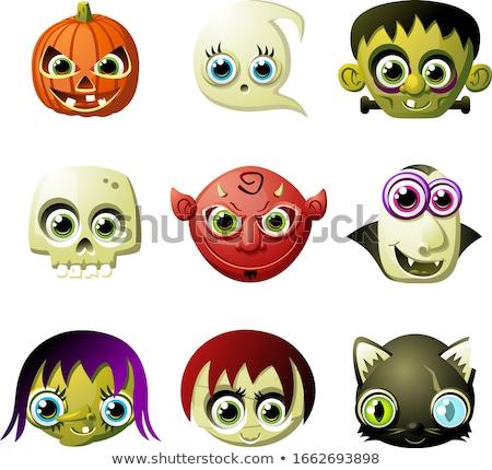 Happy Frankenstein Halloween Monster Head Cartoon Vector Illustr Stock photo © chromaco