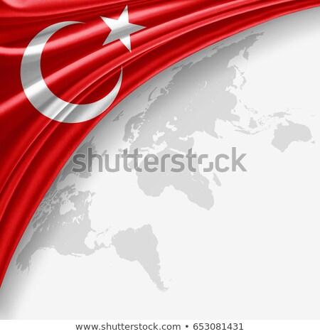 トルコ語 · フラグ · 月 · 青 · 星 · ファブリック - ストックフォト © experimental