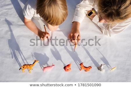 broer · zus · spelen · speelgoed · dieren · familie - stockfoto © photography33