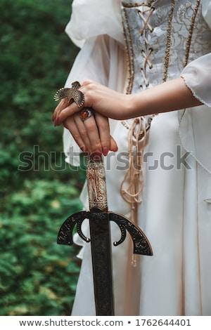 nő · középkori · jelmez · tart · kard · természet - stock fotó © fanfo