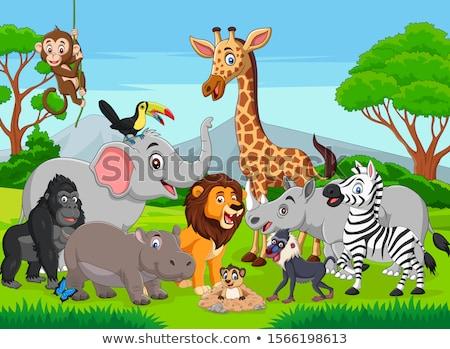 Szczęśliwy zwierząt cartoon grupy drzewo trawy Zdjęcia stock © dagadu