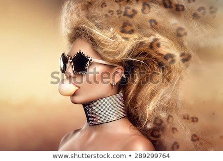 the fashion leopard makeup girl Stock photo © carlodapino