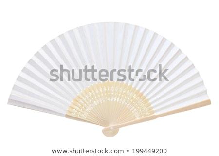 közelkép · távolkeleti · fehér · kínai · ventillátor · virág - stock fotó © vadimmmus
