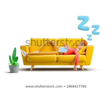 3d sleeping man with books stock photo © ribah