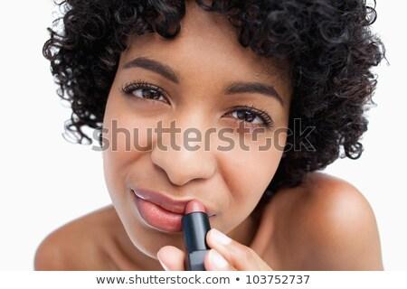 feliz · mulher · batom · lábios · branco · moda - foto stock © wavebreak_media
