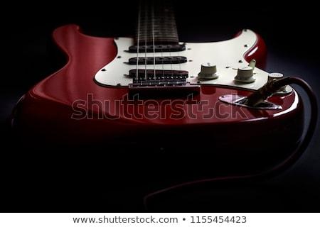 guitare · électrique · détail · vue · pont · bois - photo stock © taviphoto