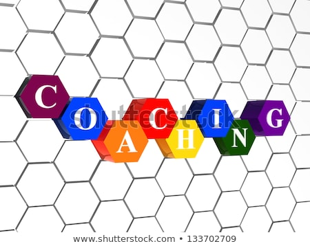 coaching in color hexagons in cellular structure Stock photo © marinini