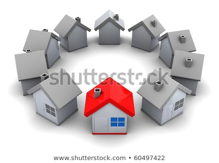 une · rouge · maison · seuls · beaucoup - photo stock © 4designersart