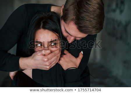 Nő közelkép portré túsz fekete stressz Stock fotó © marylooo